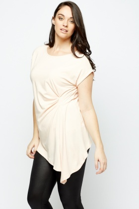 Light Peach Ruched Side Top