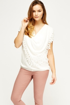 Sheer Cowl Neck Trim Top