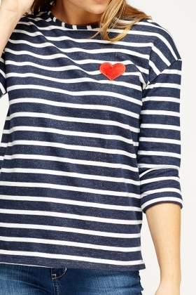Striped Heart Badge Top