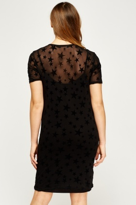 Velveteen Star Mesh Overlay Dress