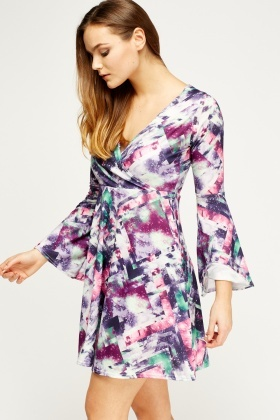 Wrap Printed Flare Sleeve Dress
