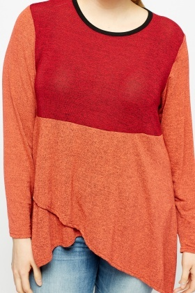 Colour Block Wrap Hem Top