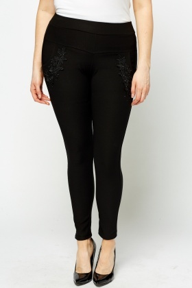 High Waisted Mesh Embroidered Leggings