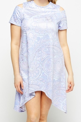 Paisley Printed Asymmetric Cold Shoulder Dress