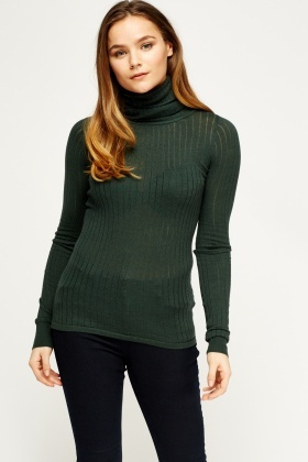 Roll Neck Green Knit Top