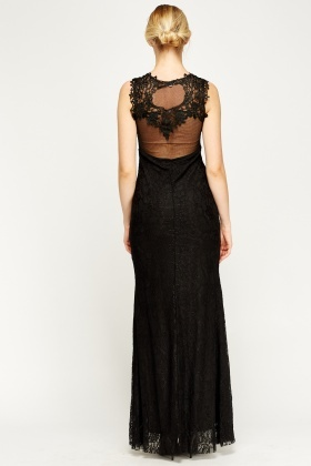 Beaded Mesh Back Lace Overlay Maxi Dress