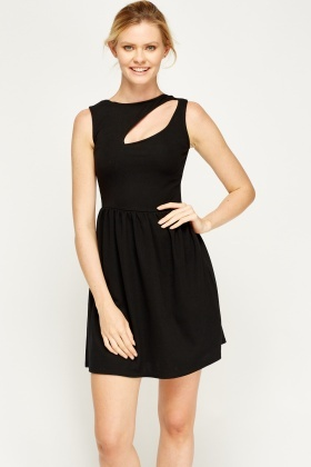 Black Cut Basic Skater Dress
