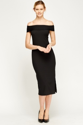 Black Ribbed Off Shoulder Midi Dress