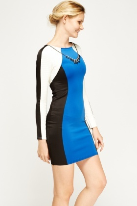 Colour Block Contrast Jewelled Neck Dress
