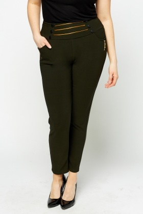 Detailed High Waisted Trousers