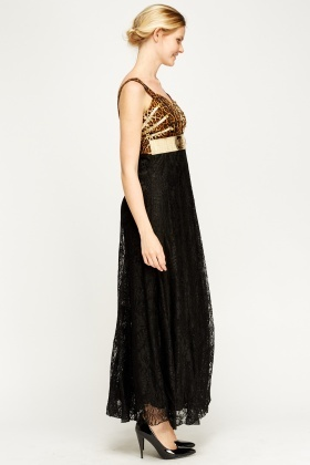 Leopard Print Metallic Detailed Maxi Dress
