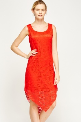 Mesh Overlay Asymmetric Dress
