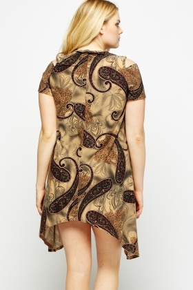 Olive Paisley Print Cold Shoulder Asymmetric Dress
