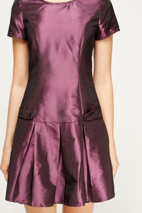 Purple Satin Skater Hem Dress