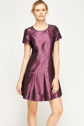 Purple Satin Sater Hem Dress