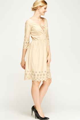 Suedette Lace Front Flower Laser Cut Dress