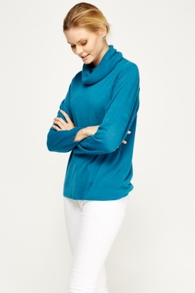 Teal Thin Knit Roll Neck Jumper
