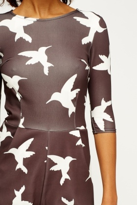 Bird Print Charcoal Playsuit