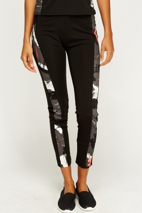 Black Printed Gym Pants