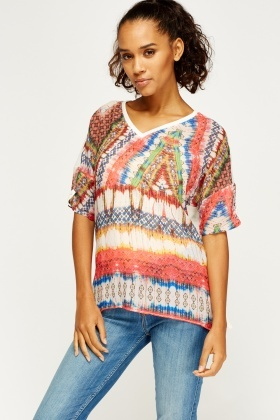 Contrast Mixed Print Top