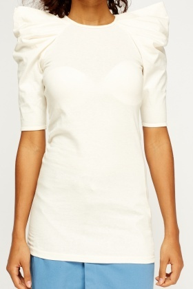 Cream Ruffled Padded Shoulder Top