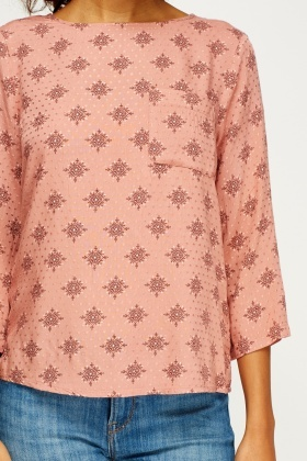 Dusty Pink Printed Casual Top