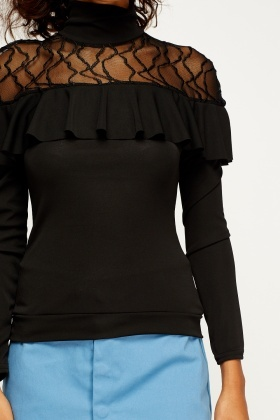 Lace Insert High Neck Top