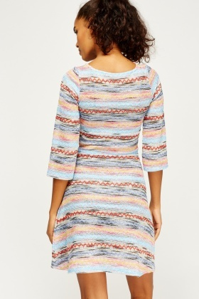 Multi Stitched Skater Dress