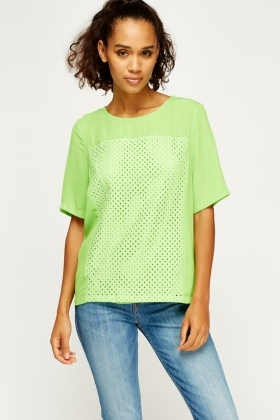Neon Green Sheer Contrast Top
