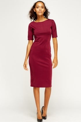 Purple Midi Pencil Dress