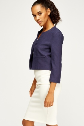 Textured Cropped Blazer