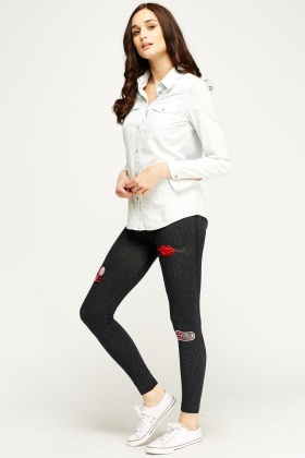 Charcoal Badge Jeggings