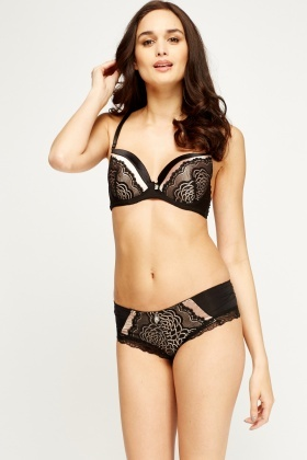 Colour Block Satin Lace Bra And Brief Set