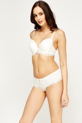Lace Overlay Trim Bra And Brief Set