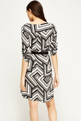 Mono Print Shift Dress