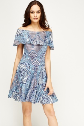 Off Shoulder Ornate Swing Dress