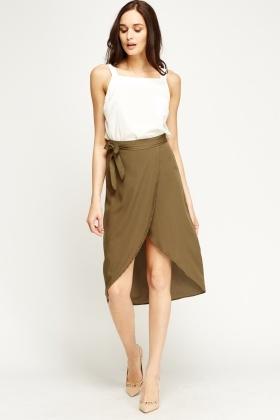 Olive Sheer Wrap Skirt