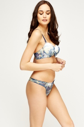 Sheer Floral Lace Trim Bra And Brief Set