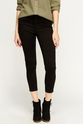 Zipped Ankle Cropped Black Jeans