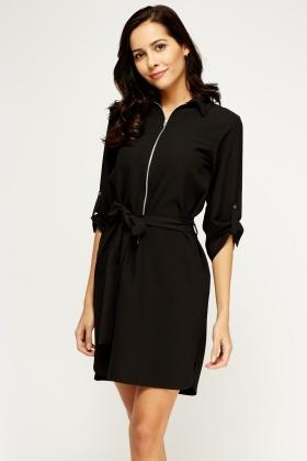 Black Tie Up Shirt Dress - Just £5