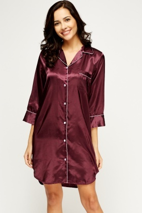 Contrast Trim Silky Night Dress