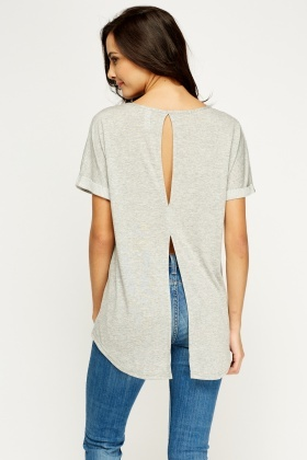 Cut Out Back Grey Top