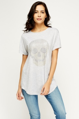 Encrusted Skull Grey Top