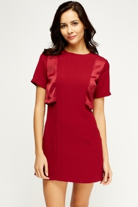 Insert Sateen Overlay Back Shift Dress