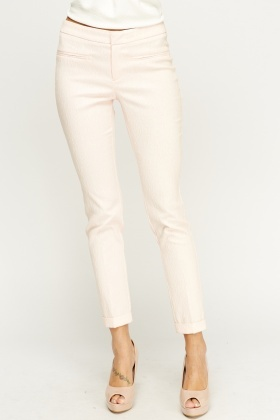 Pink Textured Trousers