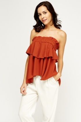 Ruched Overlay Off Shoulder Top