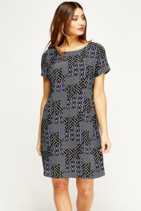 Mixed Print Shift Dress