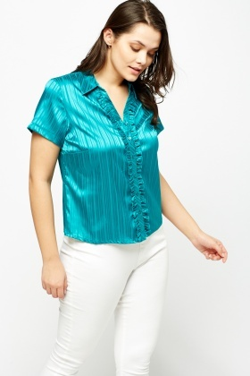 Ruffled Trim Silky Shirt