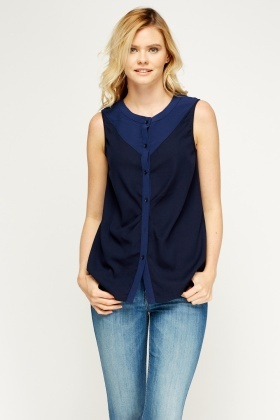 Button Up Sleeveless Blouse