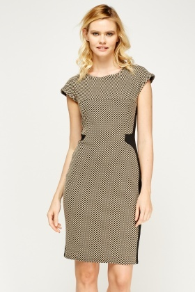 Contrast Panel Pencil Dress